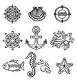 sea set sea and nautical decorations vector image