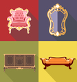 Living room home decoration icon set flat style Di vector image
