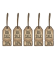 Set hanging Sale tag sticker and label Discount vector image