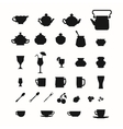 Collection of cups teapots and other items vector image vector image