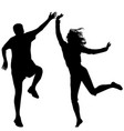 Man and woman jumping vector image