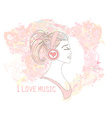 Beautiful young woman in headphones listening to vector image