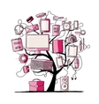 Art tree with digital office devices Sketch for vector image