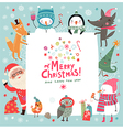 Christmas background with cute characters vector image
