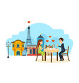 enamoured couple sitting in restaurant talking vector image