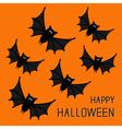 Flying cute bat family Happy Halloween card Flat vector image
