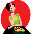 Girl has sushi vector image