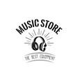 headphones icon music store logotype labe vector image