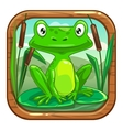 Little green frog sitting on the leaf vector image