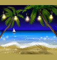palm trees at night vector image