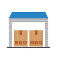 pile boxes carton in warehouse delivery icon vector image