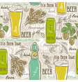 Seamless patterns with set of beer bottle mug hop vector image