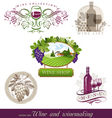 wine winemaking emblems vector image