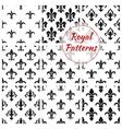Royal fleur-de-lis floral seamless patterns vector image