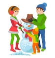 Happy family sculpts snowman Merry Christmas vector image