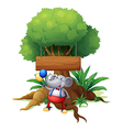 An elephant under the tree with a wooden signboard vector image