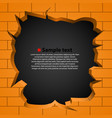 hole in the broken wall vector image