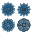 Circular patterns of blue star shaped flowers vector image vector image