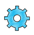 Blue gear symbol process industry vector image
