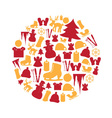 color winter and xmas icon set in circle eps10 vector image