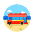 double decker open top sightseeing city bus icon vector image