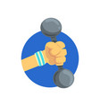 hand holding dumbbell sport gym or fitness vector image