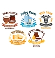 Milk and cheese shop dairy farm cartoon badge set vector image