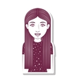 silhouette teenager with straigth hair vector image