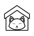 Cat fluffy animal clossed eyes house pet outline vector image