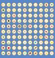 100 activity icons set cartoon vector image