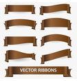 brown various curver empty ribbon banners eps10 vector image