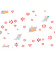 Bird and flower pattern vector image