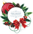 Christmas card with red bauble vector image