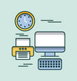 computer keyboard printer clock time office vector image