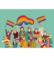 Lgbt happy gay meeting people group and sky vector image