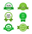 set of vegan badges icons labels organic vector image
