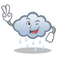 two finger rain cloud character cartoon vector image