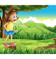 A happy girl standing above a stump at the hill vector image vector image
