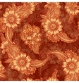 Chocolate colors floral seamless pattern in Indian vector image vector image