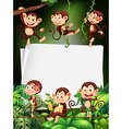 Border design with monkeys in the forest vector image
