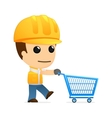 builder with shopping cart vector image vector image
