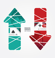 Arrows line world red and terqoice color vector image