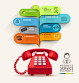 Business service icons and telephone with bubble vector image vector image