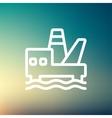 Oil platform thin line icon vector image