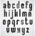 Grunge black grated lower case letters mystique vector image