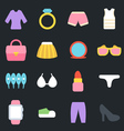 Womens Clothes and Accessories Flat Icons vector image