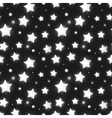 Glossy silver stars in the dark seamless pattern vector image