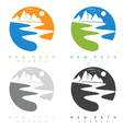 abstract mountains and river in new path church vector image