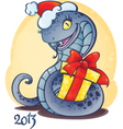 adorable little snake with Christmas gift vector image