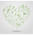 Healthy food green heart vector image